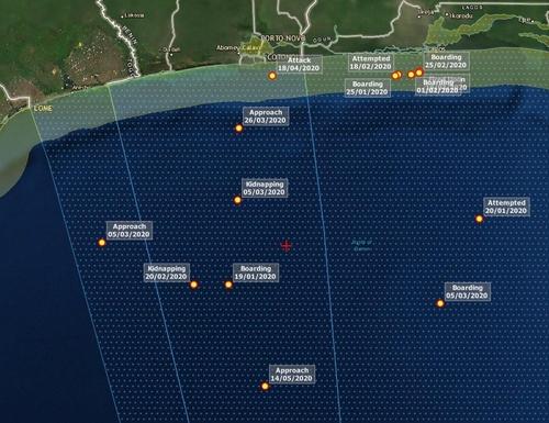 在科托努港口南部的韩国公民被绑地点(红色加号标识) 德莱德全球官网截图(图片严禁转载复制)