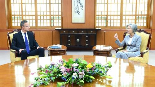 7月27日,在韩国外交部大楼,康京和(右)与西亚尔托举行会谈。 韩国外交部供图(图片严禁转载复制)