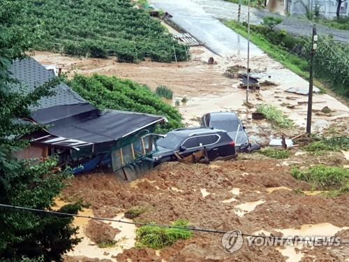 8月2日,位于京畿道安城市一竹面的一处民宅和养鸡场因沙土流失被淹。 韩联社