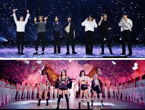 资料图片:防弹少年团(上)和BLACKPINK Big Hit娱乐、YG娱乐供图(图片严禁转载复制)
