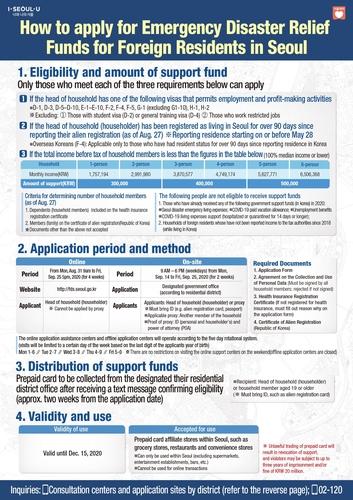 首尔市外籍市民灾难紧急生活费支援指南(英文版) 首尔市政府供图(图片严禁转载复制)