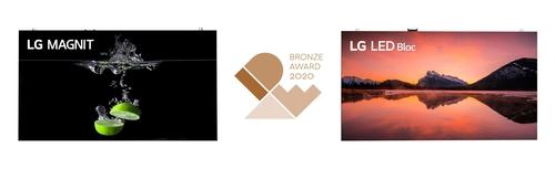 "LG电子大尺寸电视""LG MAGNIT""和""LED Bloc""搭载的概念发光二极管设计斩获铜奖。 韩联社/LG电子供图(图片严禁转载复制)"