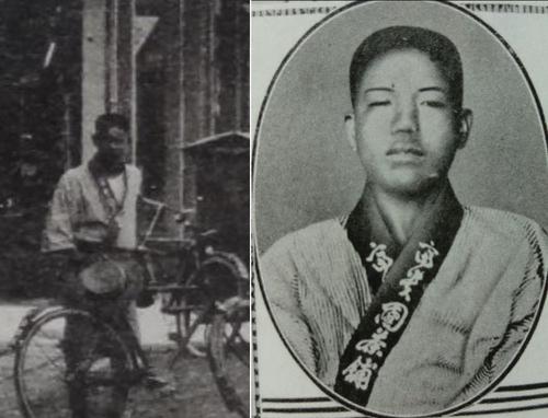 左为林于昉提供的图片人物放大图,右为赵明河被捕后被拍下的照片,由于或被殴打,脸部明显浮肿。 林于昉、金尚浩供图(图片严禁转载复制)