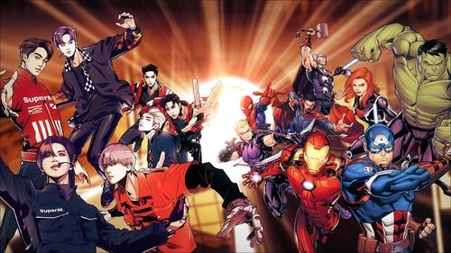 SuperM与漫威漫画公司合作预告图 SM娱乐供图(图片严禁转载复制)