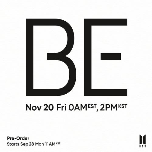 防弹少年团新辑《BE》回归海报 Big Hit娱乐供图(图片严禁转载复制)