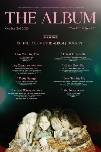 资料图片:BLACKPINK首张正规专辑《THE ALBUM》歌单 韩联社/YG娱乐供图(图片严禁转载复制)