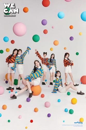 资料图片:Weeekly的第二张迷你专辑《We can》海报 韩联社/Play M娱乐供图(图片严禁转载复制)