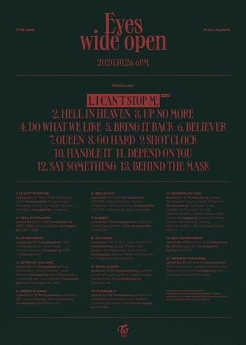 TWICE正规二辑《Eyes wide open》的曲目单 JYP娱乐供图(图片严禁转载复制)