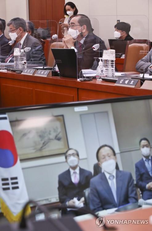 10月12日,韩国驻美大使李秀赫(下图)以视频形式出席国会外交统一委员会国政监查。 韩联社