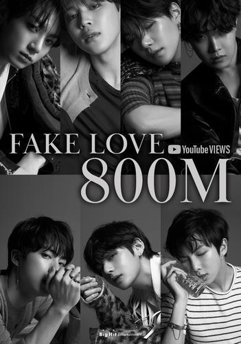 《FAKE LOVE》MV播放量突破8亿大关 Big Hit娱乐供图(图片严禁转载复制)