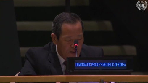 朝鲜常驻联合国代表金星 联合国网络电视截图(图片严禁转载复制)