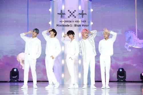 资料图片:TOMORROW X TOGETHER(TXT) 韩联社/经纪公司Big Hit娱乐供图(图片严禁转载复制)