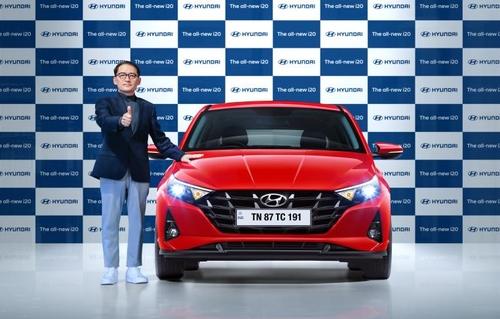 资料图片:现代汽车全新i20 韩联社/现代汽车印度分公司供图(图片严禁转载复制)