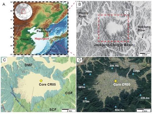 赤中草溪盆地和钻孔采样位置 韩国地质资源研究院供图(图片严禁转载复制)