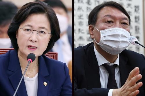 资料图片:法务部长官秋美爱(左)和检察总长尹锡悦 韩联社