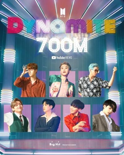 防弹少年团《Dynamite》MV播放量破7亿