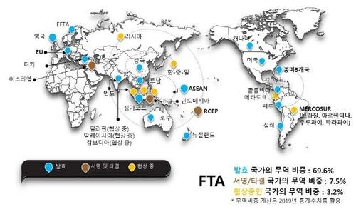 韩国和56个国家签署17个自贸协定,蓝色标识为已正式生效国。 韩国贸易协会供图(图片严禁转载复制)