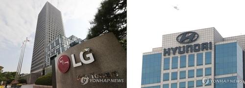资料图片:LG集团和现代汽车集团总部 韩联社