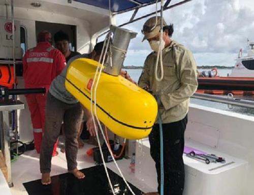 """图为""""ARA""""号海底探测装备。 韩联社/韩国驻印尼大使馆供图(图片严禁转载复制)"""
