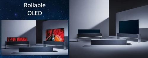 左为为创维可卷曲OLED电视,右为LG Signature OLED TV R。 创维CES线上展馆截图/LG电子供图(图片严禁转载复制)