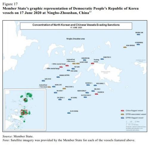 资料图片:这是朝鲜船舶2020年6月17日在中国宁波舟山港附近海域航行的情况示意图。 韩联社/联合国安理会旗下对朝制裁委员会专家小组报告截图(图片严禁转载复制)