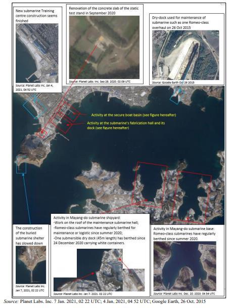 资料图片:朝鲜新浦海军造船厂 韩联社/联合国安理会旗下对朝制裁委员会专家小组报告截图(图片严禁转载复制)
