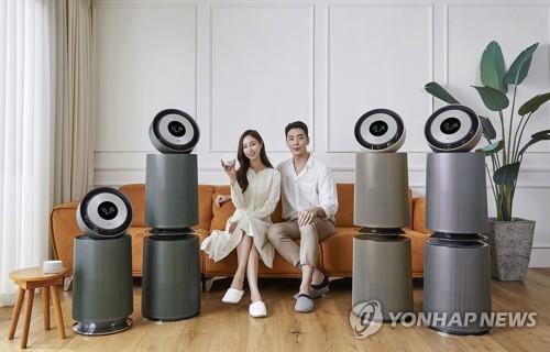 """资料图片:LG电子旗下高端品牌""""LG Objet""""系列空气净化器 韩联社/LG电子供图(图片严禁转载复制)"""