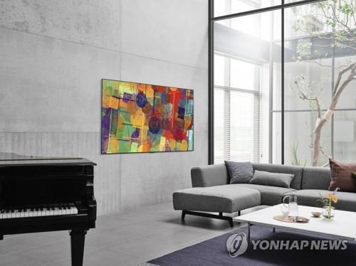 资料图片:LG电子旗下OLED电视宣传照 韩联社/LG电子供图(图片严禁转载复制)