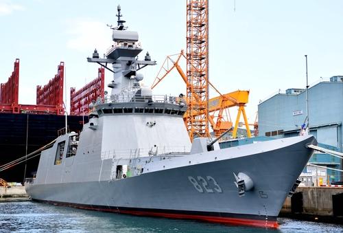 """新型""""大田""""号护卫舰下水。 韩海军供图(图片严禁转载复制)"""