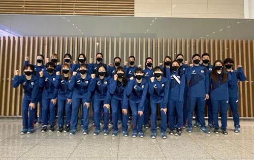 资料图片:韩国女排出征2021年世界女排联赛。 韩联社/大韩排球协会供图(图片严禁转载复制)