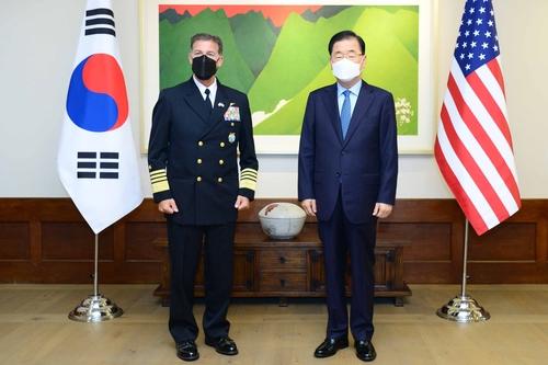 韩外长郑义溶会见美国新任印太司令阿奎利诺