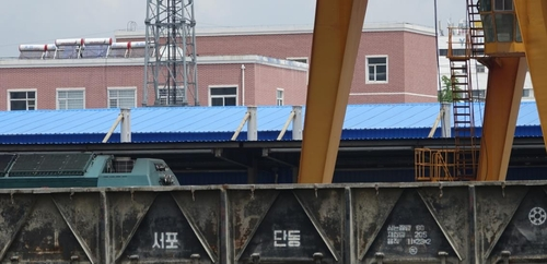 资料图片:丹东火车站的列车 韩联社