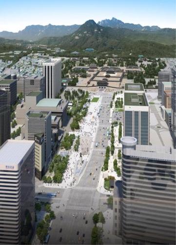 扩建后的首尔光化门广场效果图 韩联社/首尔市政府提供(图片严禁转载复制)