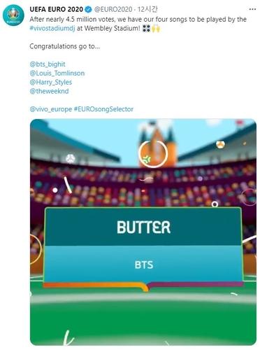 防弹《Butter》入围2020年欧洲杯官方歌单