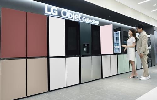 资料图片:LG Objet Collection冰箱 韩联社/LG电子供图(图片严禁转载复制)