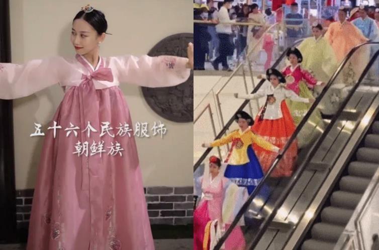 """左为应用软件""""FacePlay""""在韩服图片上标注""""朝鲜族"""",右为延边以购物中心的时装秀宣传韩服为朝鲜族传统服饰。 徐坰德供图"""