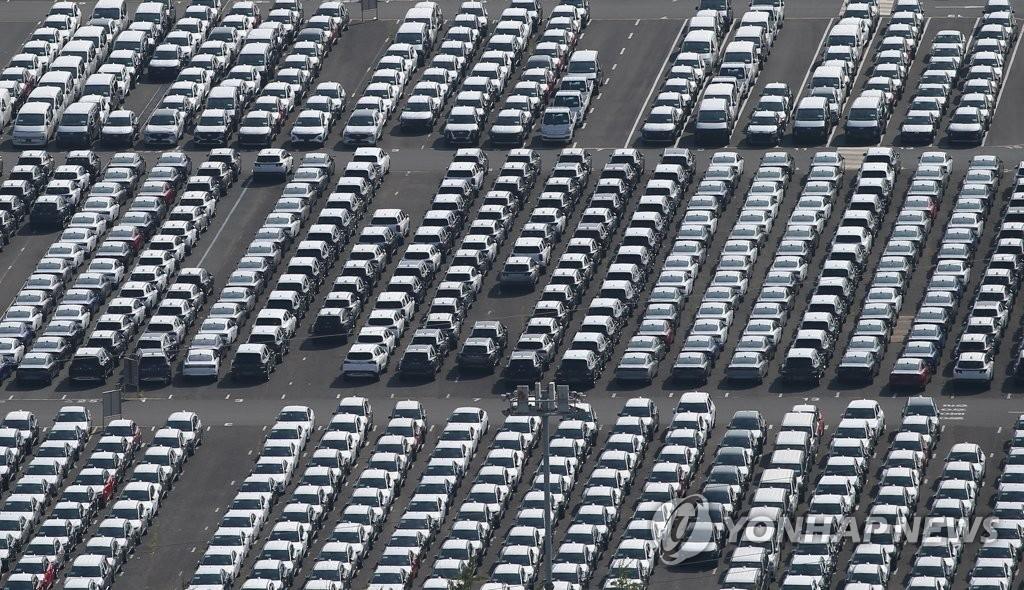 资料图片:现代汽车蔚山工厂出口码头 韩联社(图片严禁转载复制)
