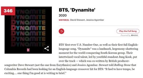 防弹《Dynamite》入选滚石史上最伟大500歌曲