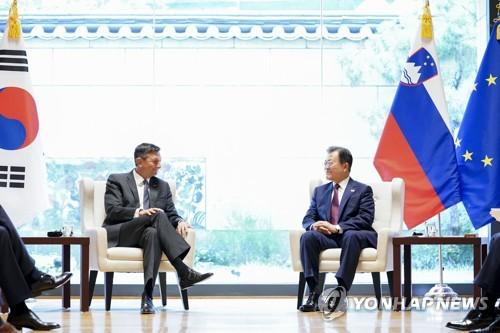 文在寅与斯洛文尼亚总统举行会谈