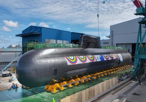 """图为""""申采浩""""号潜艇。 韩联社/海军供图(图片严禁转载复制)"""