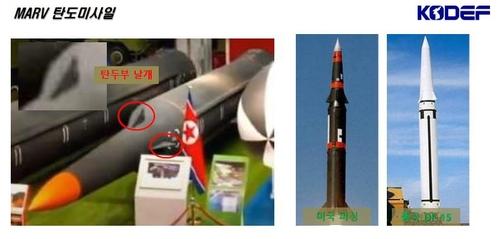 亮相朝鲜国防展的MARV弹道导弹 韩国国防安全论坛供图(图片严禁转载复制)