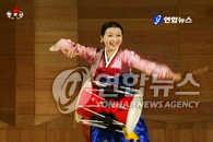 朝鲜舞蹈演员的长鼓舞