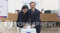 文在寅夫妇进行地方选举缺席投票