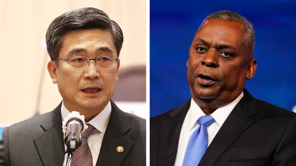 韩国防长徐旭与美国新任防长奥斯汀首通电话