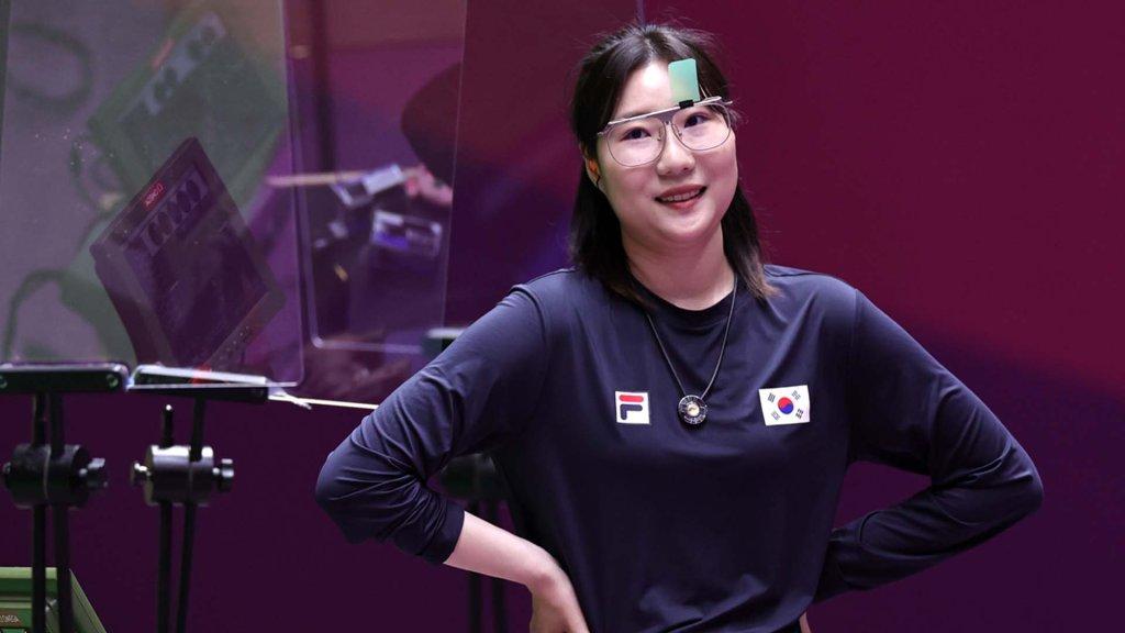 韩选手金珉静斩获东奥女子25米手枪银牌