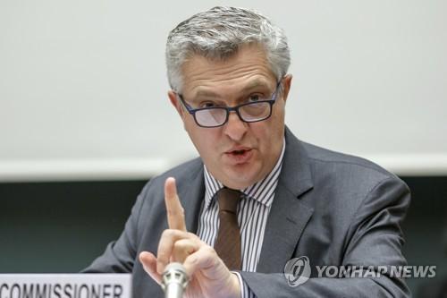 资料图片:联合国难民署高级专员菲利普·格兰迪(韩联社/美联社)