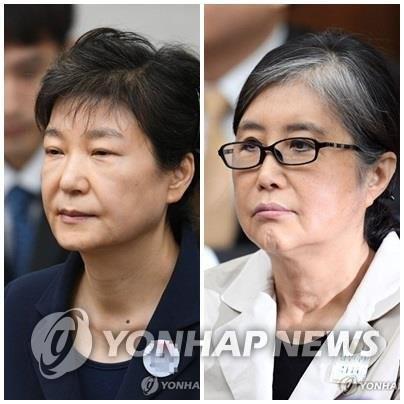 资料图片:朴槿惠(左)和崔顺实 韩联社