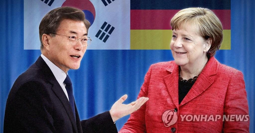 资料图片:左为文在寅,右为默克尔。(韩联社)