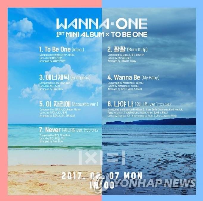 经纪公司YNC娱乐31日公布了旗下男团Wanna One新专辑的名字和歌单。(韩联社/Wanna One官方Instagram)