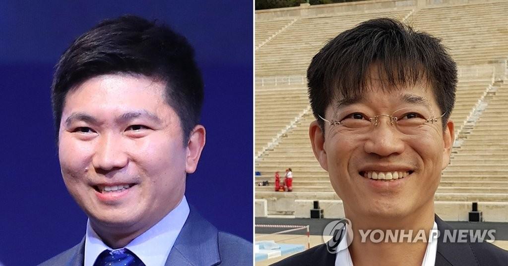 左为柳承敏,右为金琪焄。(韩联社)